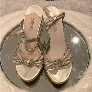 Shoes - MICHAEL KORS GOLD WEDGE SANDAL SIZE 38.5